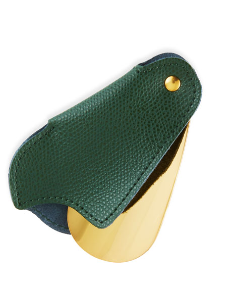 Golden Travel Shoe Horn with Leather Case, Green