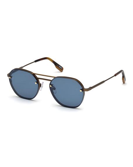 Ermenegildo Zegna Men's Round Titanium Sunglasses
