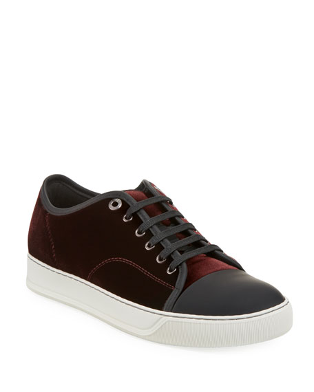 Men's Velvet Cap-Toe Low-Top Sneakers