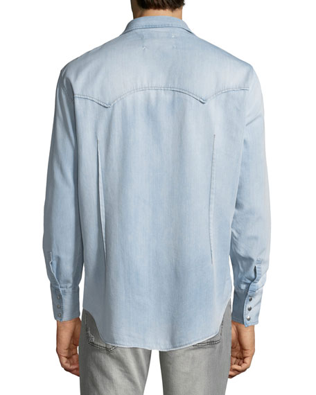 Men's Casual Chest-Pocket Cotton Snap-Front Western Shirt