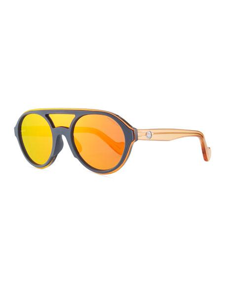 Moncler Men's Round Shield Mirrored Sunglasses, Gray