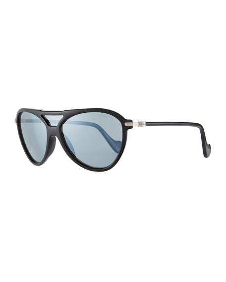 Moncler Men's Aviator Shield Sunglasses, Black/Gray