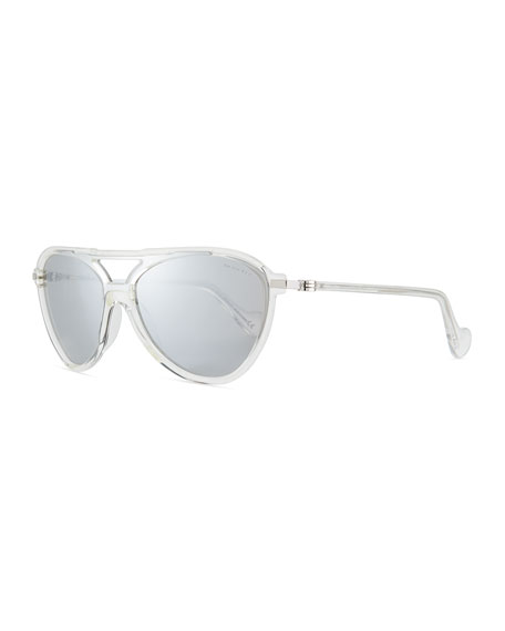 Moncler Men's Aviator Shield Sunglasses, Clear