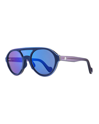 Men's Round Shield Sunglasses, Blue/Gray