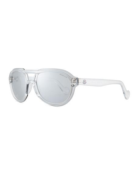 Moncler Men's Thick Plastic Shield Aviator Sunglasses, Clear