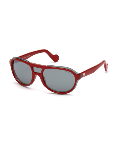 Men's Shield Aviator Sunglasses, Red/Gray
