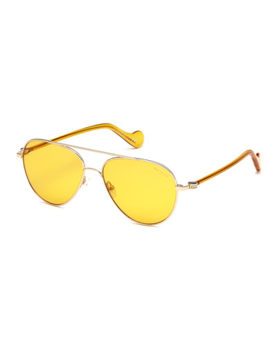 Men's Mirrored Metal Aviator Sunglasses