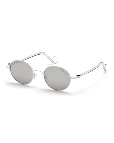 Men's Round Metal Sunglasses, White/Gray