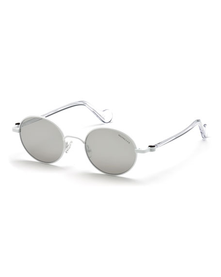 Moncler Men's Round Metal Sunglasses, White/Gray