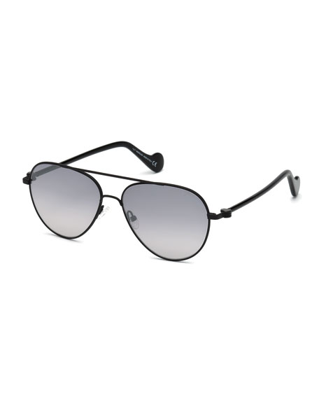 Moncler Men's Metal Gradient Aviator Sunglasses, Black/Gray