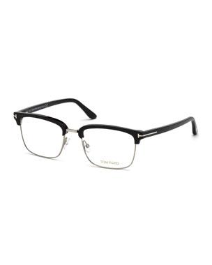 7595312c281ed TOM FORD Men s Square Metal Plastic Half-Rim Optical Glasses - Silvertone  Hardware