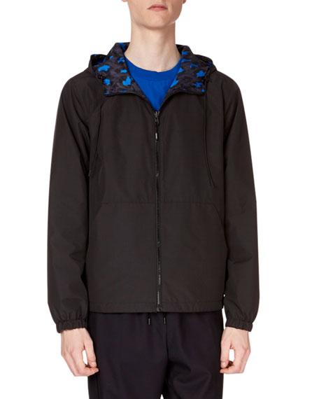 Men's Reversible Leopard-Print Wind-Resistant Jacket