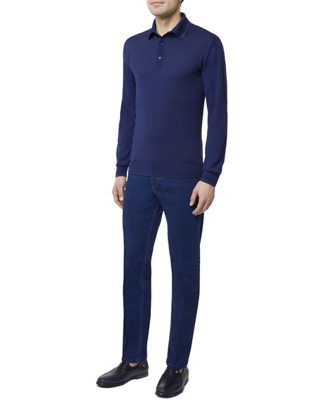 Men's Cashmere/Silk Long-Sleeve Polo Shirt