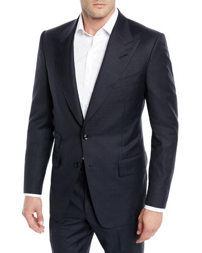 Men's Prince of Wales Plaid Peak-Lapel Two-Piece Suit