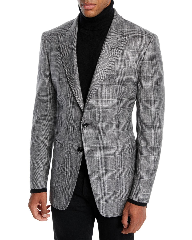 e96e51e562a TOM FORD Men's O'Connor Wool-Silk Prince of Wales Plaid Blazer Jacket