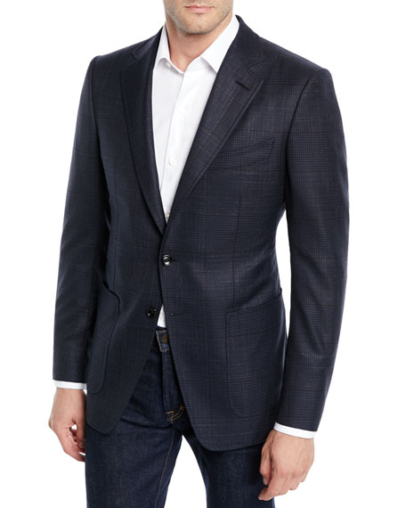 TOM FORD Men's O'Connor Exploded Plaid Wool-Silk Blazer Jacket