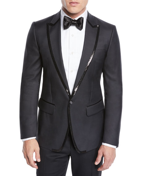 Men's Sequin Wool/Silk Tuxedo Jacket