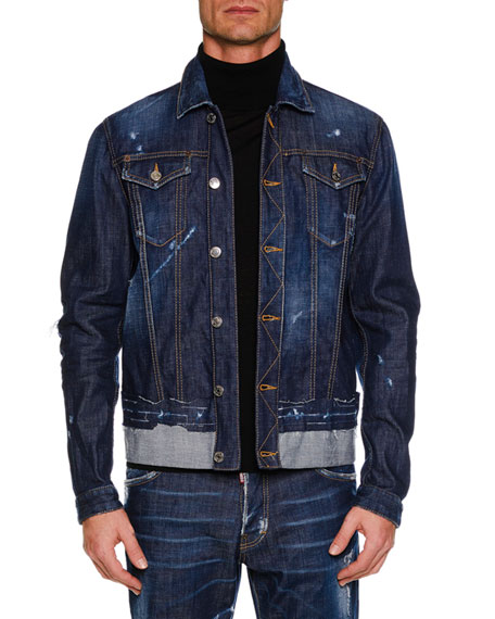 Dsquared2 Men's Button-Front Distressed Denim Jacket w/ Contrast