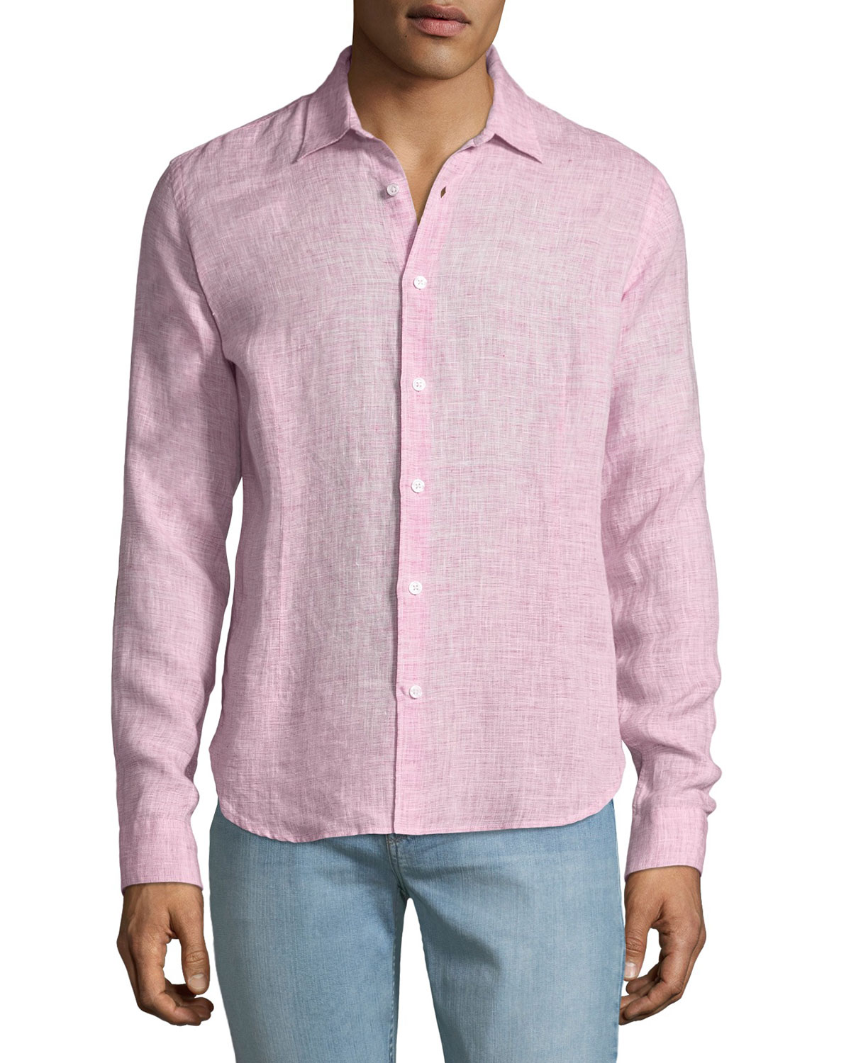 Orlebar Brown Men's Morton Tailored Sport Shirt, Pink