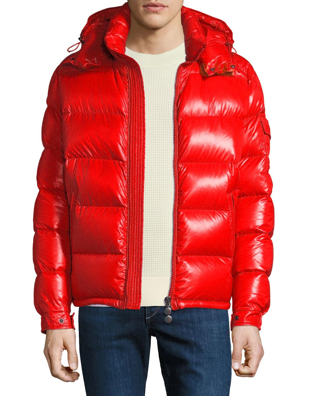 cf7c9722671 Moncler Men's Maya Shiny Down Puffer Jacket with Hood | Neiman Marcus