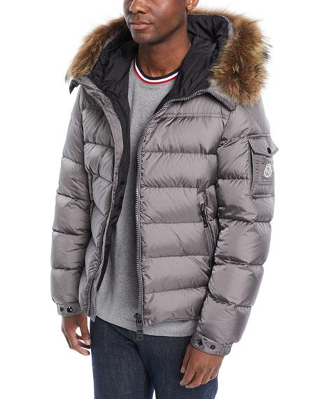 Moncler Men's Marque Fur-Trim Puffer Jacket