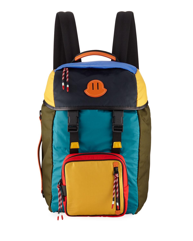 76c0aa48753c Moncler Men's Chute Colorblock Leather-Trim Canvas Backpack | Neiman ...