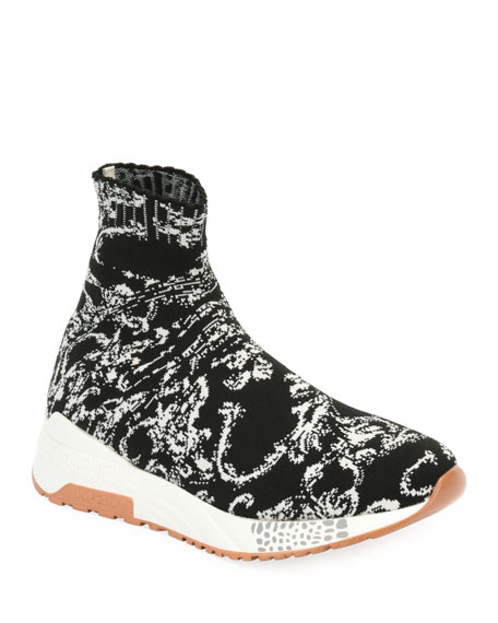 Versace Men's Baroque Knit Sock Sneakers