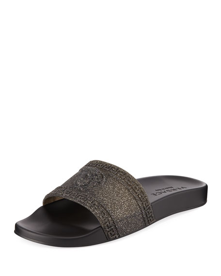 Versace Men's Glitter Shower Slide Sandals