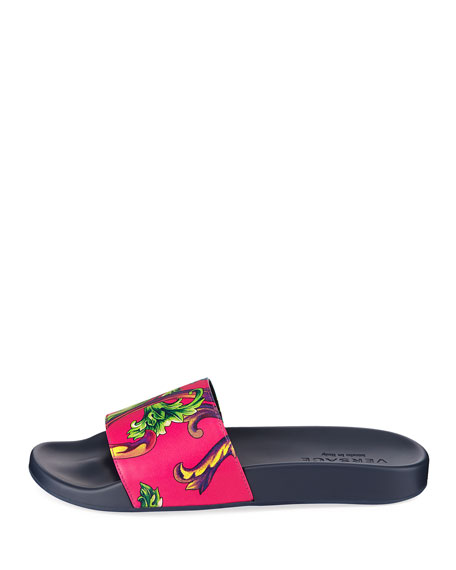 Men's Graphic-Print Leather Shower Slide Sandals