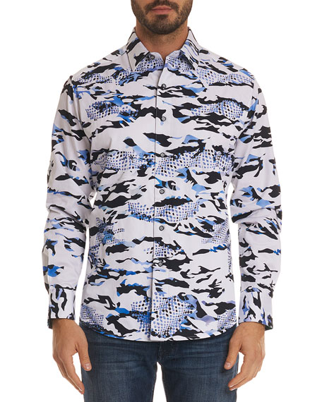 Image 1 of 2: Men's Scales Classic Fit Camo-Design Sport Shirt
