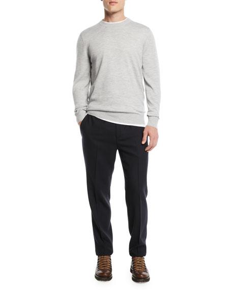 Men's Wool Twist Flat-Front Pants