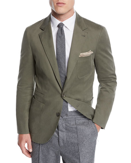 Brunello Cucinelli Men's Patch-Pocket Cotton Blazer Jacket