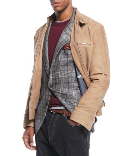 Men's Zip-Front Lambskin Suede Jacket