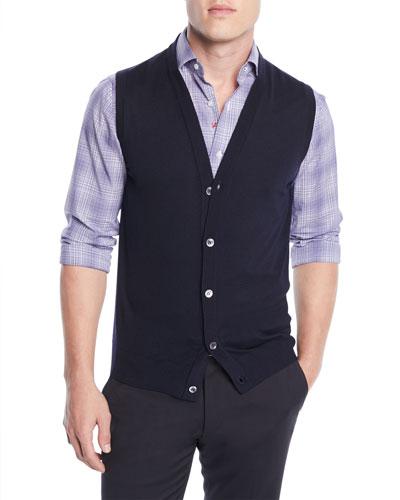 Men's Wool Cardigan Vest