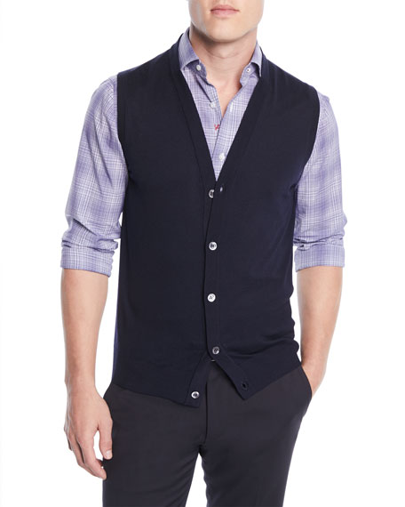 Men's Wool Cardigan Vest