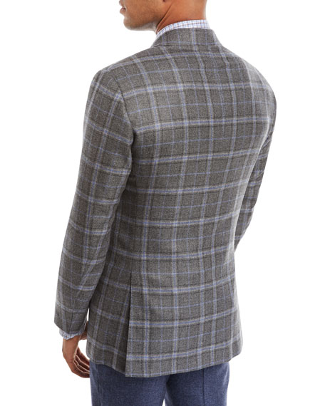 Kiton Men's Plaid Cashmere Three-Button Jacket