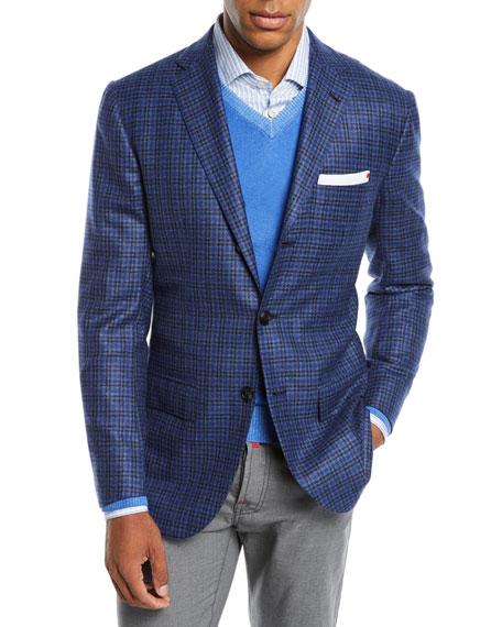 Kiton Men's Multi-Check Cashmere Sport Coat