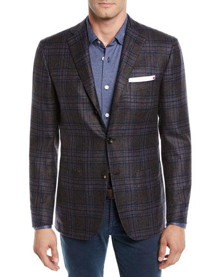 Kiton Men's Cashmere Plaid Three-Button Jacket