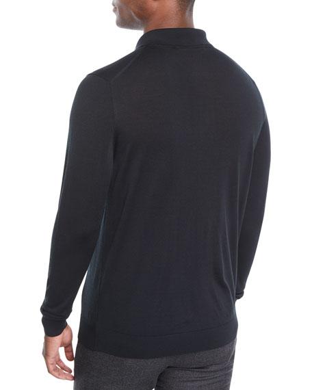 Kiton Men's Long-Sleeve Wool Polo Shirt