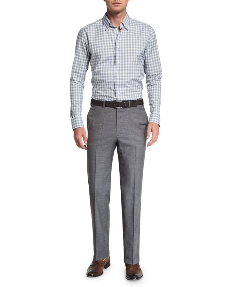 Brioni Men's Sharkskin Wool Flat-Front Dress Pants