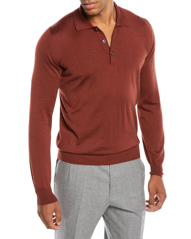 ab018042 Brioni Men's Long-Sleeve Polo Shirt | Neiman Marcus