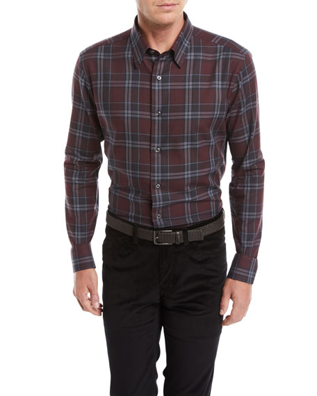 Image 1 of 2: Men's Plaid Cotton Shirt