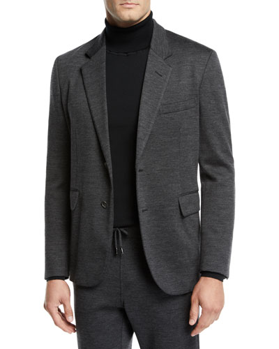 Men's Heathered Jersey Two-Button Jacket