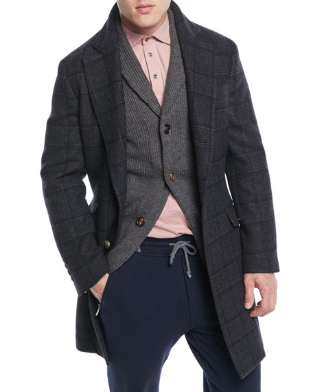 Men's Plaid Wool Overcoat