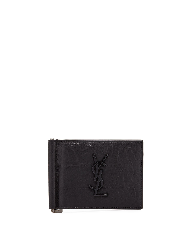 0b8f3ac1d5b Saint Laurent Men's YSL Leather Billfold Wallet w/ Money Clip ...