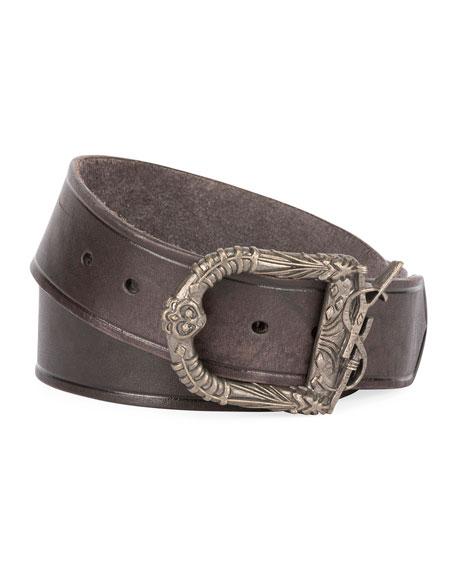 Saint Laurent Men's Distressed Leather Belt with Ornate Buckle, Black