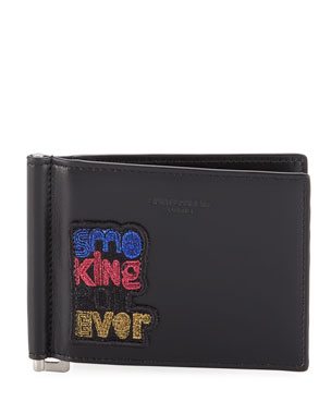 Saint Laurent Men's Multicolor Applique Leather Wallet