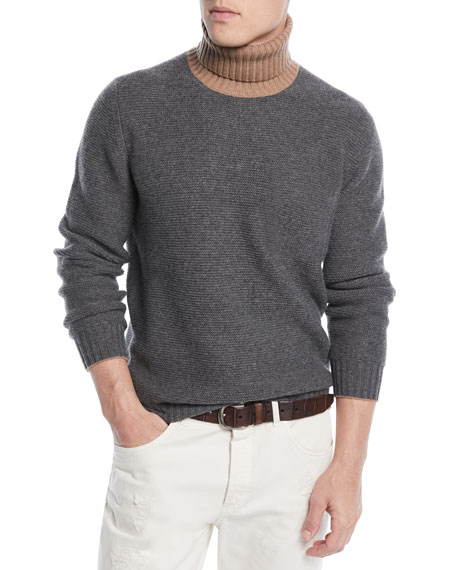 Men's Bicolor Wool-Blend Turtleneck Sweater