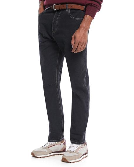 Brunello Cucinelli Men's Topstitched Denim Pants