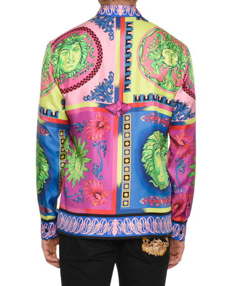 Men's Camicie Medusa Graphic Silk Sport Shirt